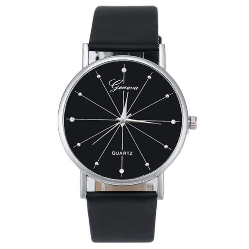 Women Quartz Dial Leather Analog Wrist Watch Round Case Watch