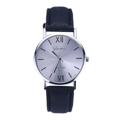 Women Geneva Leather Analog Quartz Wrist Watch