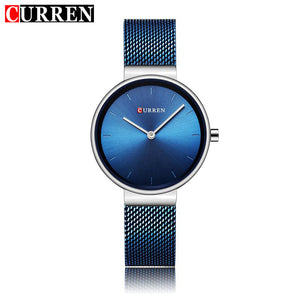 CURREN Women's Quartz Watches Thin Mesh Stainless Steel