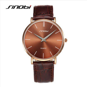 Men's Super Slim Quartz Wristwatch - Leather Analog Quartz Watch