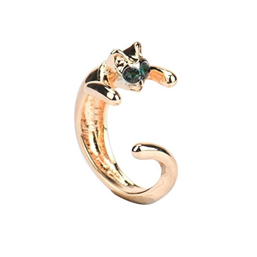 DDLBiz Unique Design Cat Shaped Ring With Rhinestone Eyes Adjustable and Resizable Ring Gift (B)