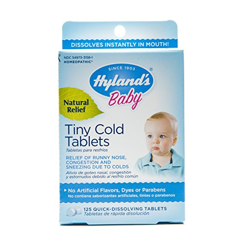 Hyland's Baby Cold Relief Dissolving Tablets, Natural Runny Nose and Congestion Relief, 125 Count