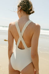 Celeste bathing suit shown in ivory to highlight the macrame detail.