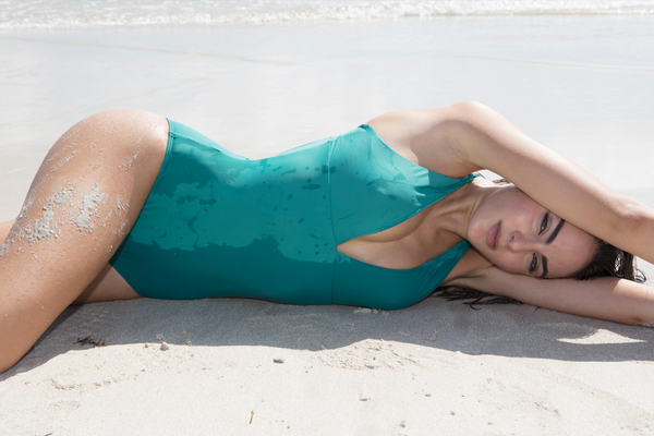 Sophisticated swimwear, one piece in green