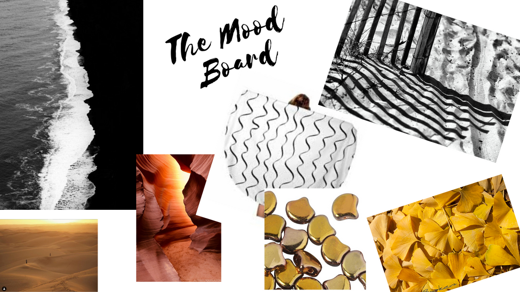 Inspirations and an example of a mood board to develop a swimwear collection