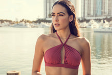 Close photo of Fernande halter bikini top in Terracotta. Miami Beach, FL.