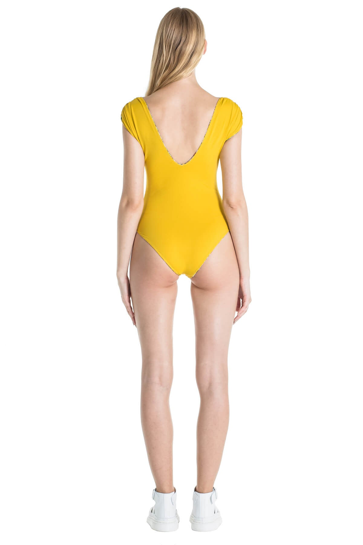 Back of Andrea one piece swimsuit in Mustard.