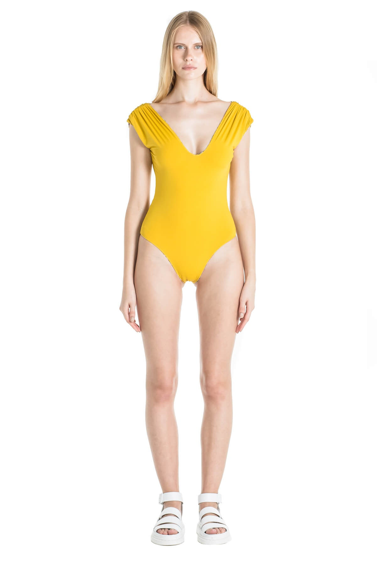 Front of Andrea one piece swimsuit in Mustard.