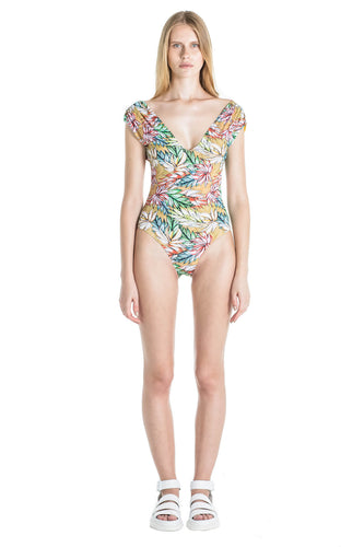 Front of Andrea one piece swimsuit in Tropical.