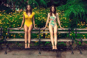 Models wearing Andrea in Tropical and Mustard, Central Park, NY.