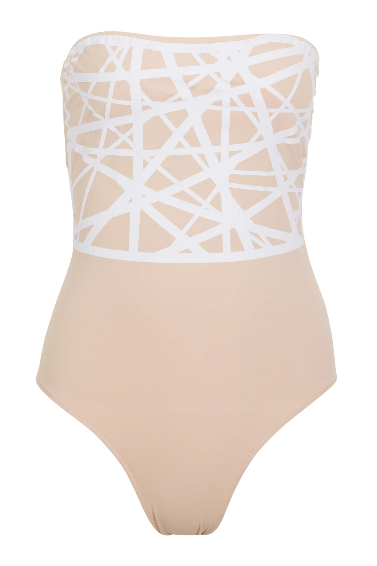 Angela one piece swimsuit in camel with white laser details.