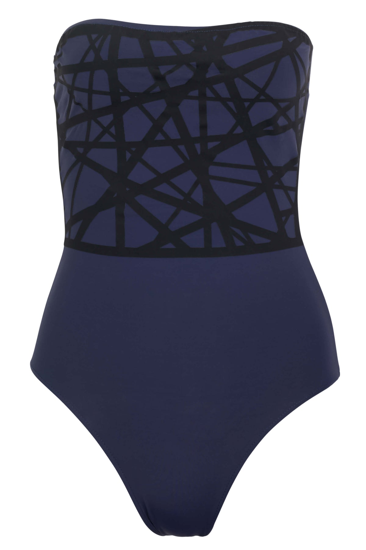 Angela one piece swimsuit in navy with black laser details.