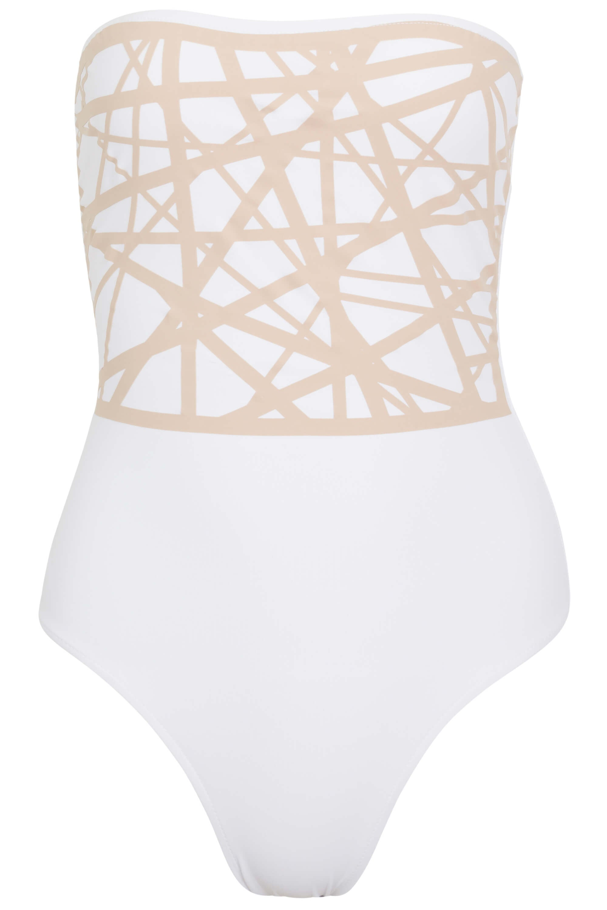 Angela one piece swimsuit in white with camel laser details.
