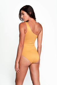 Becky One Shoulder Swimsuit in Ribbed Gold back
