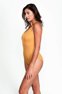 Becky One Shoulder Swimsuit in Ribbed Gold side
