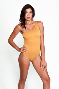 Becky One Piece Swimsuit. One shoulder, ribbed gold.