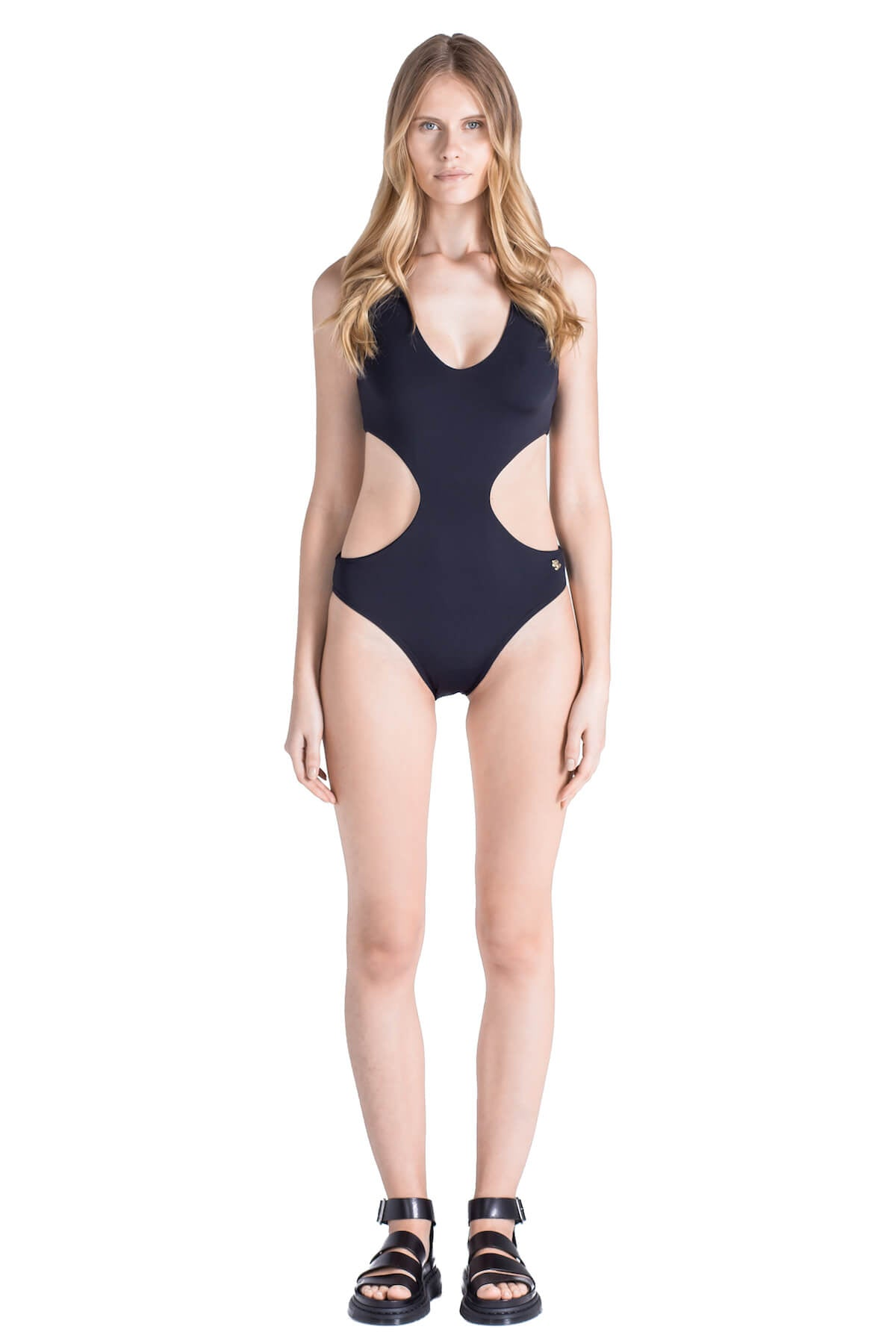 Front of Carol halter top monokini in Black.