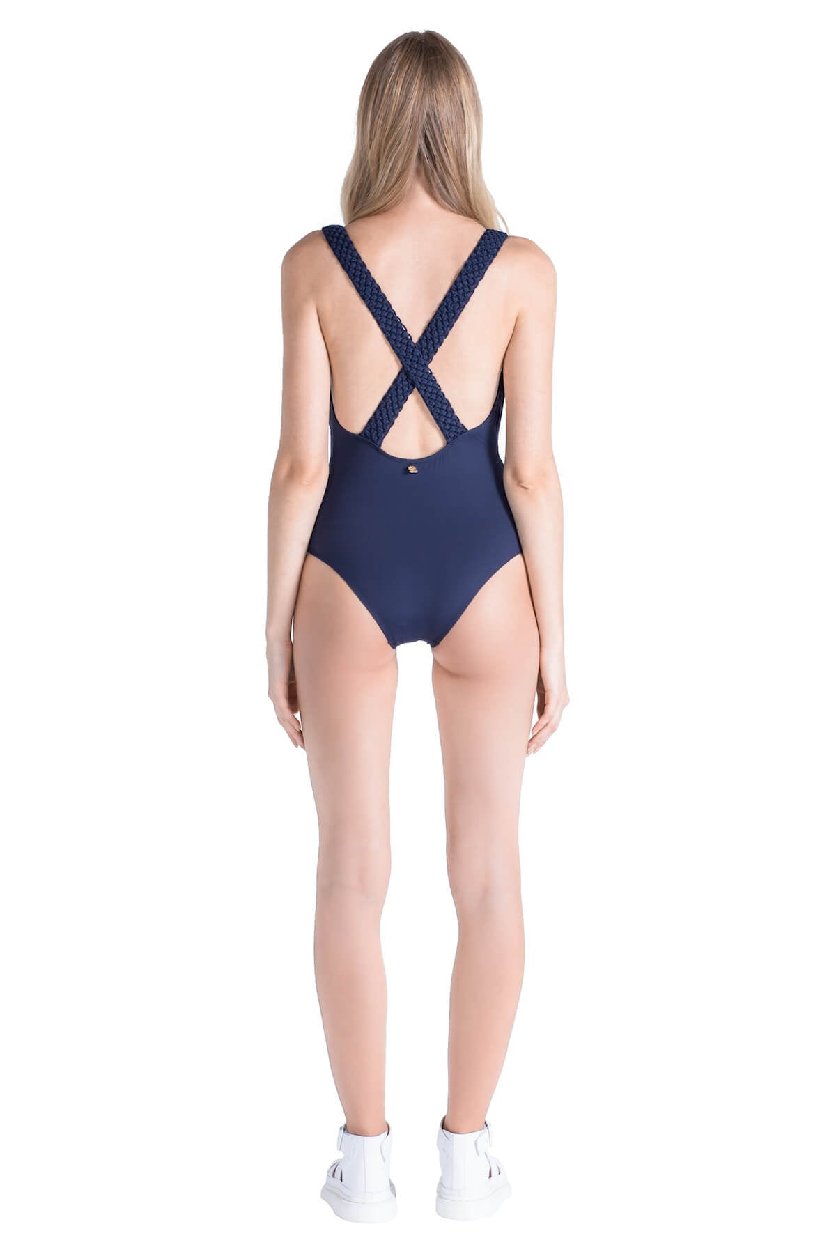Back of Celeste deep plunge neckline swimsuit in Navy.