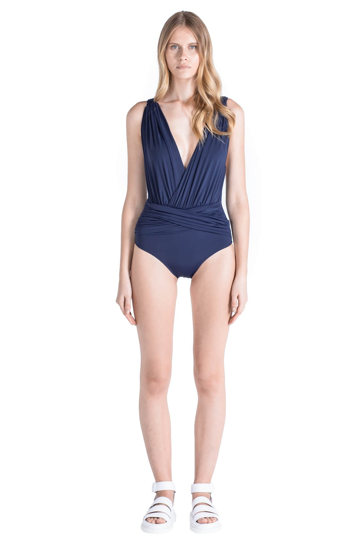 Front of Celeste deep plunge neckline swimsuit in Navy.