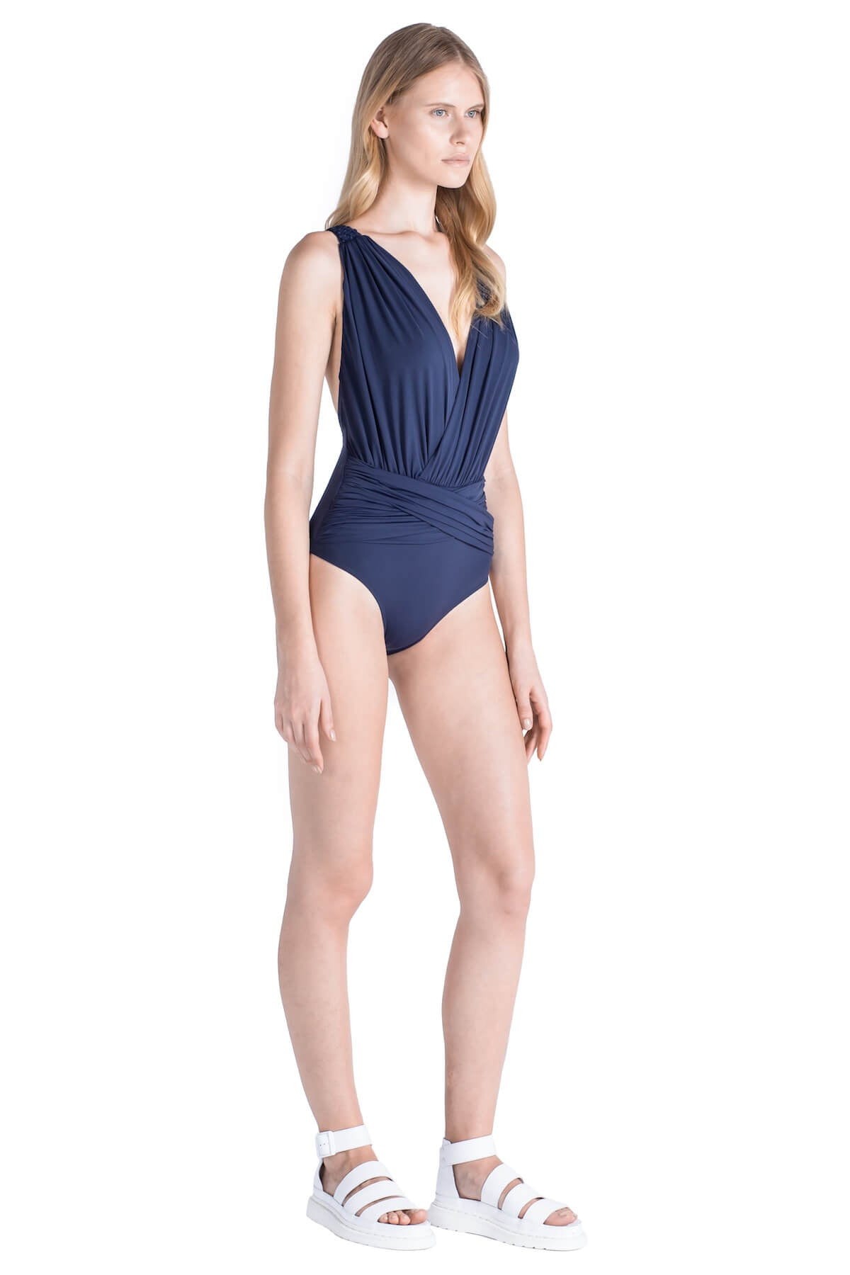Side of Celeste deep plunge neckline swimsuit in Navy.
