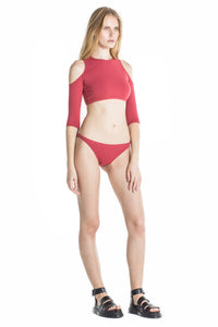 Side of Clara cheeky bikini bottom in terracotta