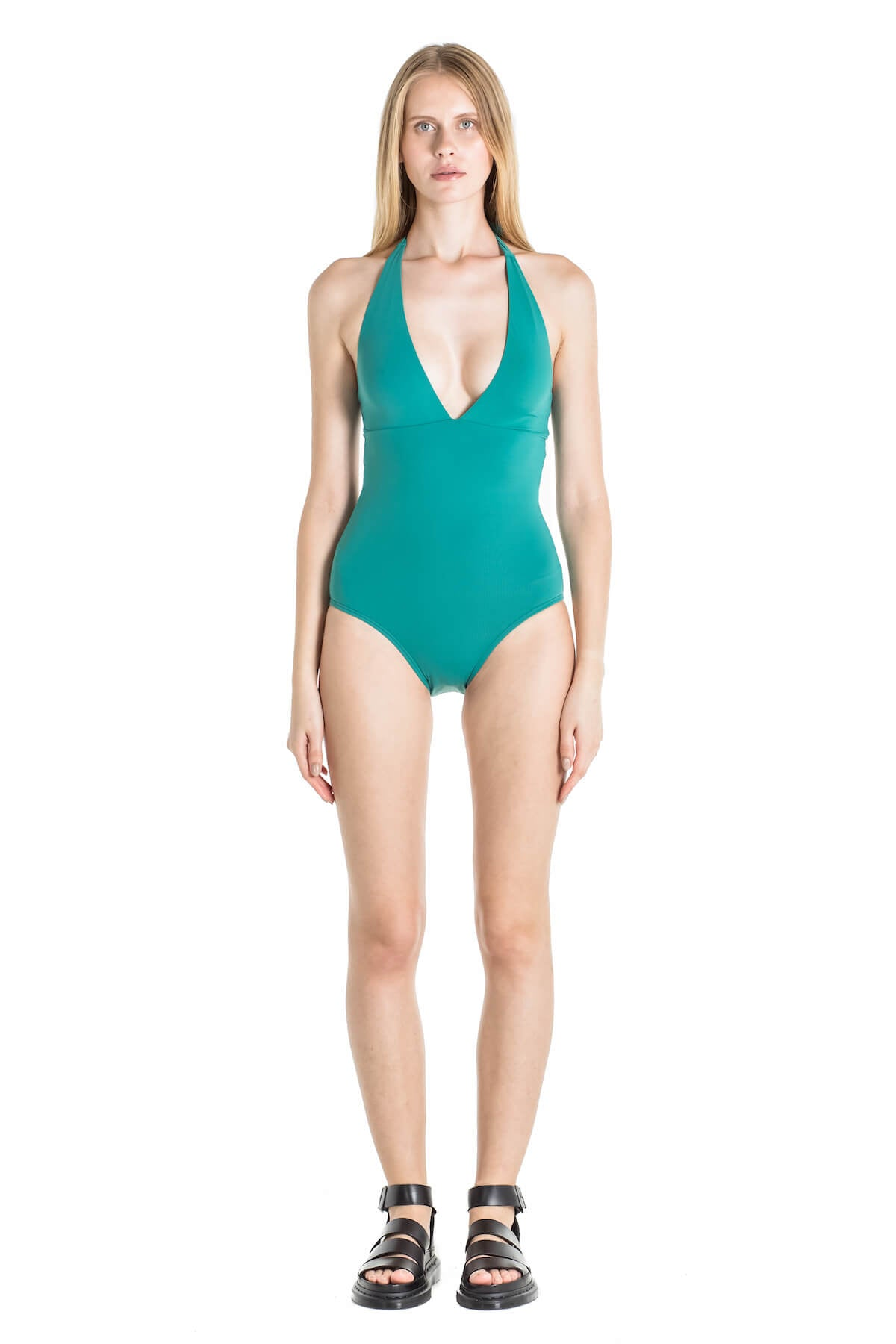 Front of Debby halter one piece swimsuit in Green.