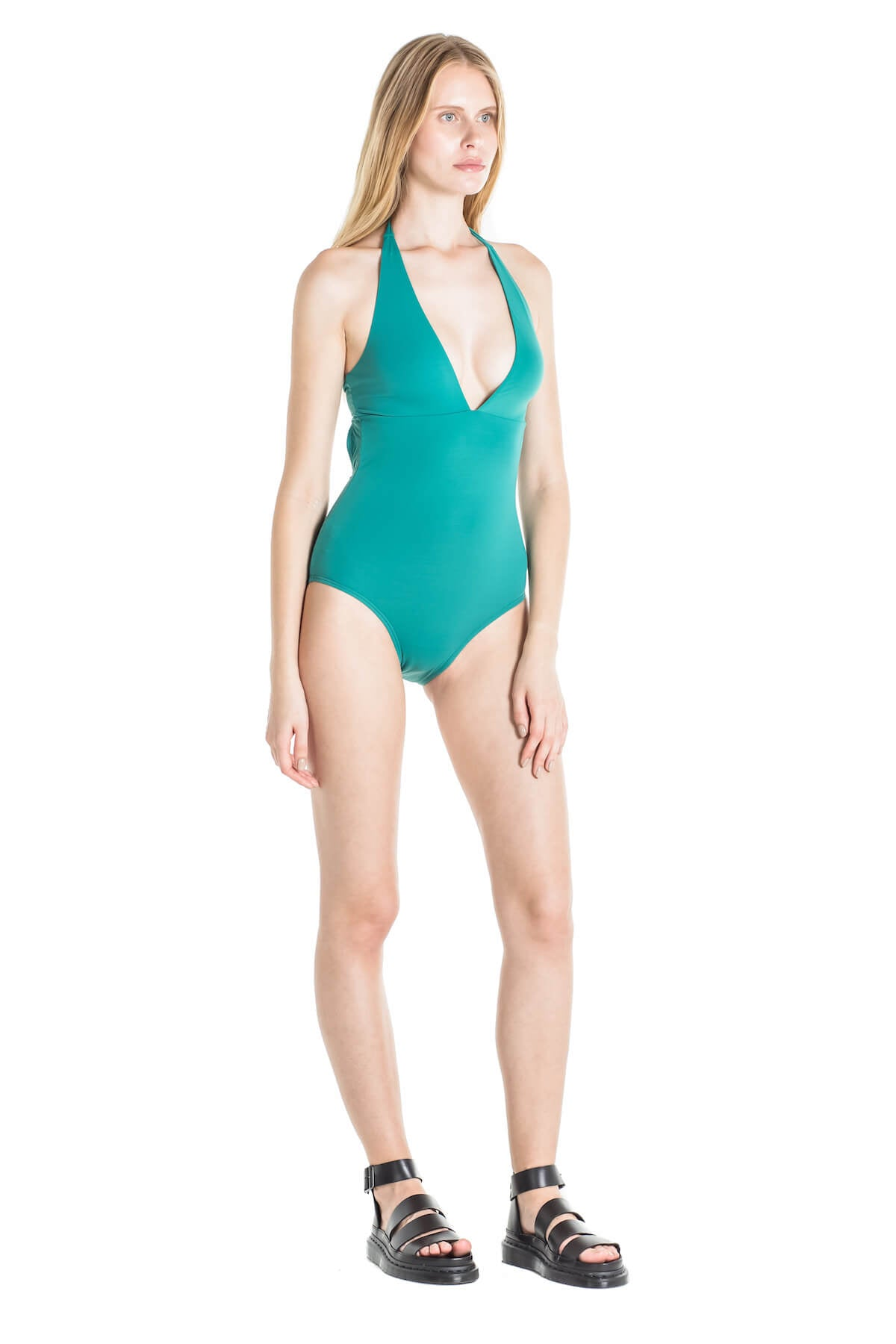 Side of Debby halter one piece swimsuit in Green.
