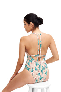 Back image of the Denise Cactus Swimsuit showing the interesting back design.