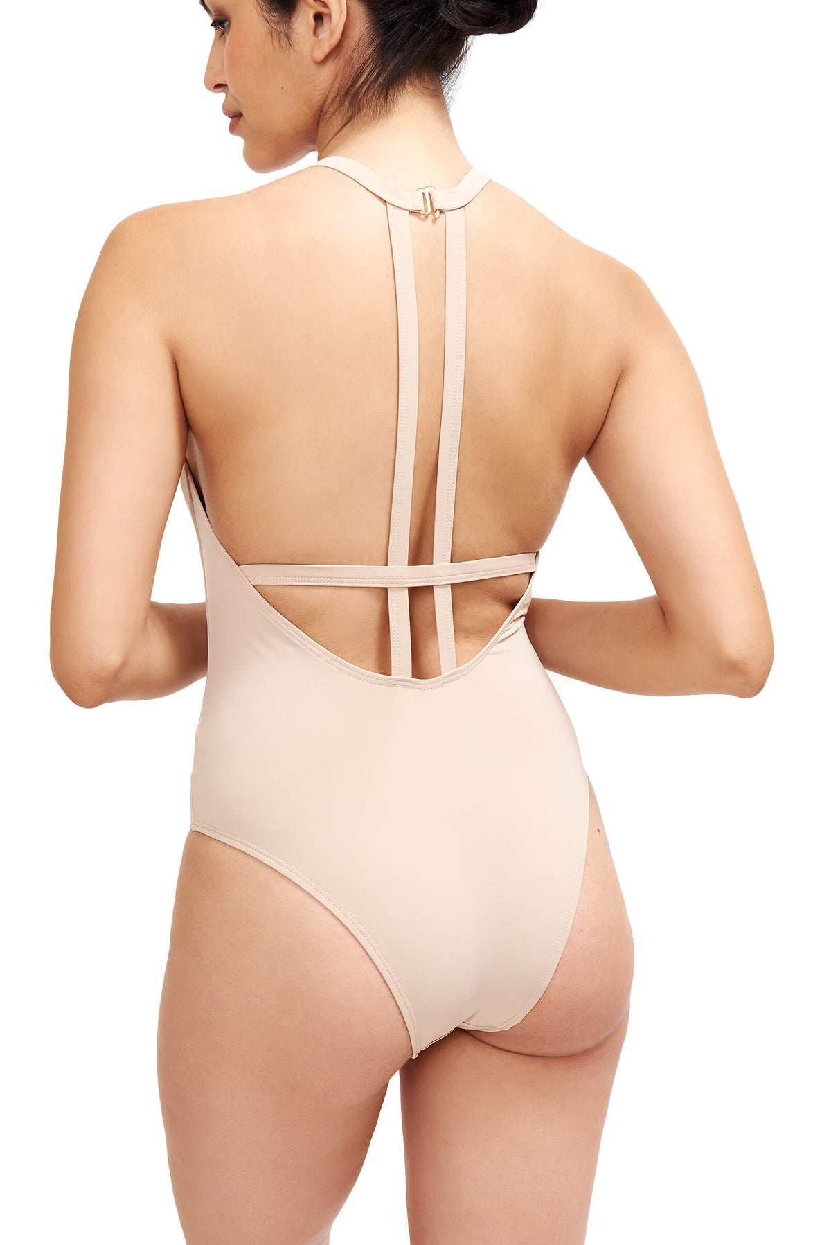 Back of Denise One Piece Swimwear Camel