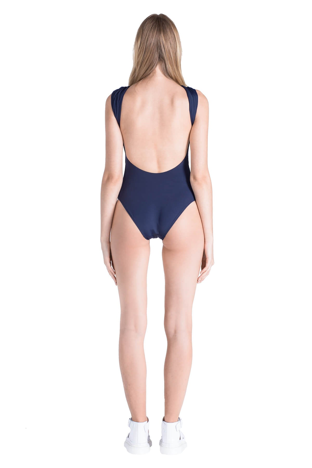 Back of Emma low cut one piece swimsuit in Navy.