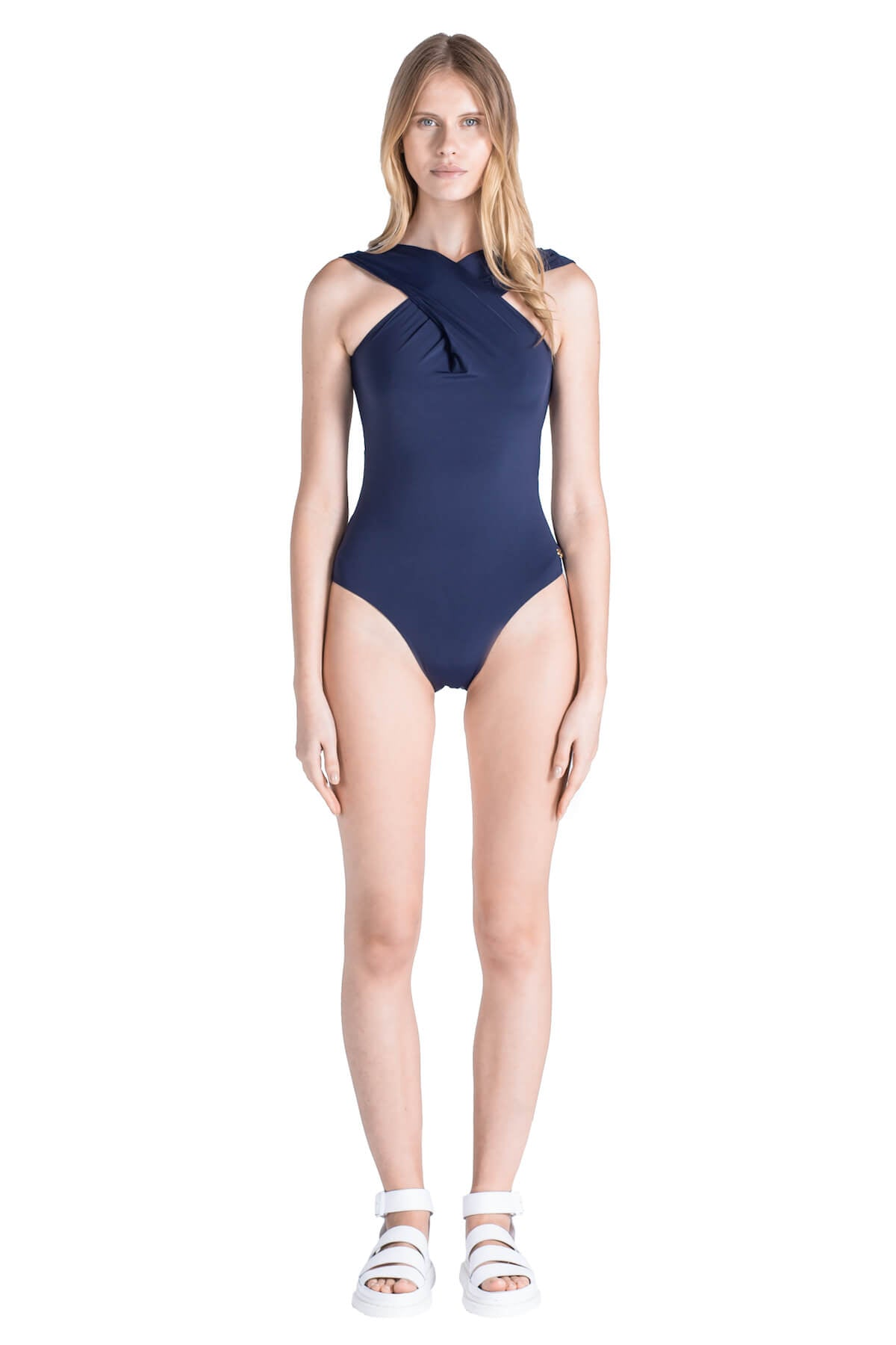 Front of Emma low cut one piece swimsuit in Navy.