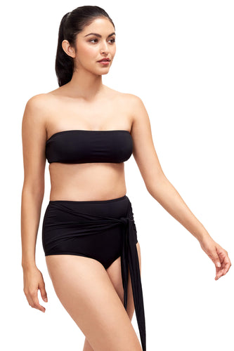 Front of Giovanna bandeau bikini top in black