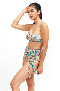 Side of Giovanna bandeau bikini top in Cactus