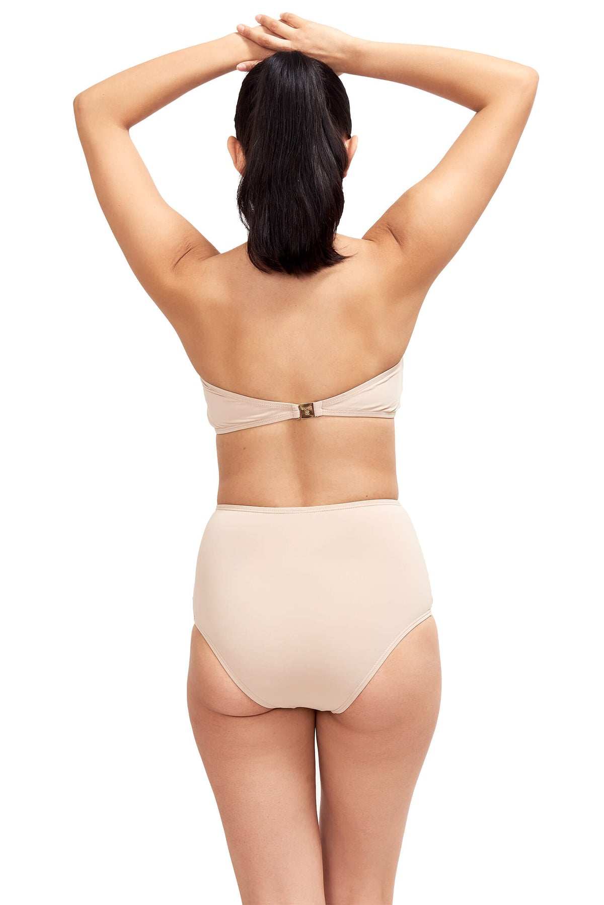 Back of Giovanna bandeau swimsuit top in Camel