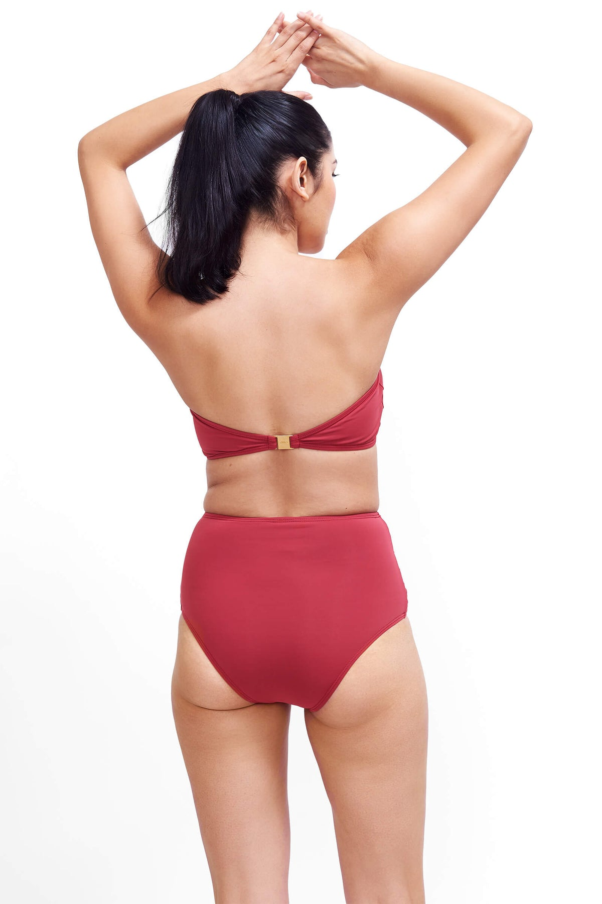 Back of Giovanna high rise swimsuit bottoms in Terracotta