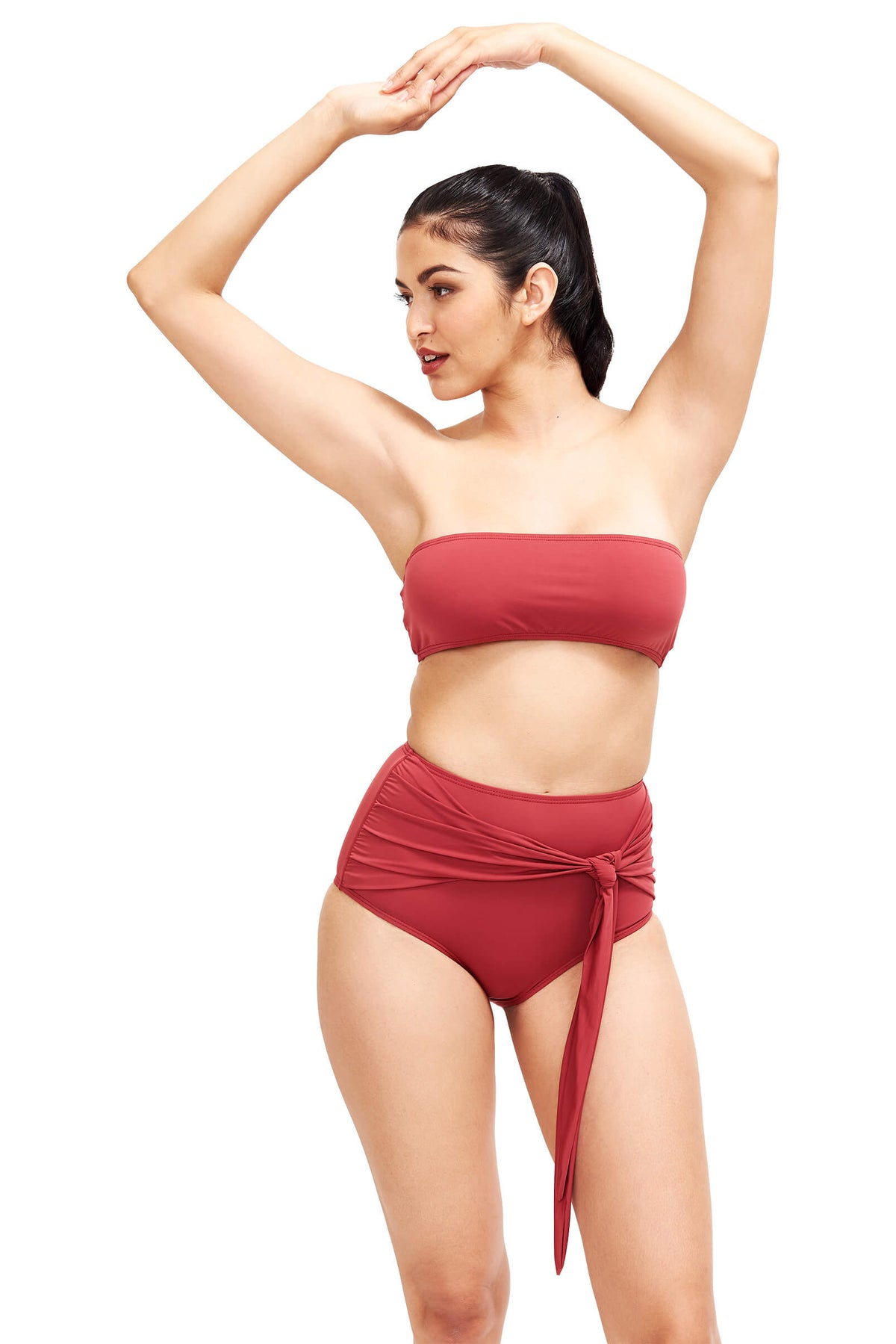 Front of Giovanna high rise swimsuit bottoms in Terracotta
