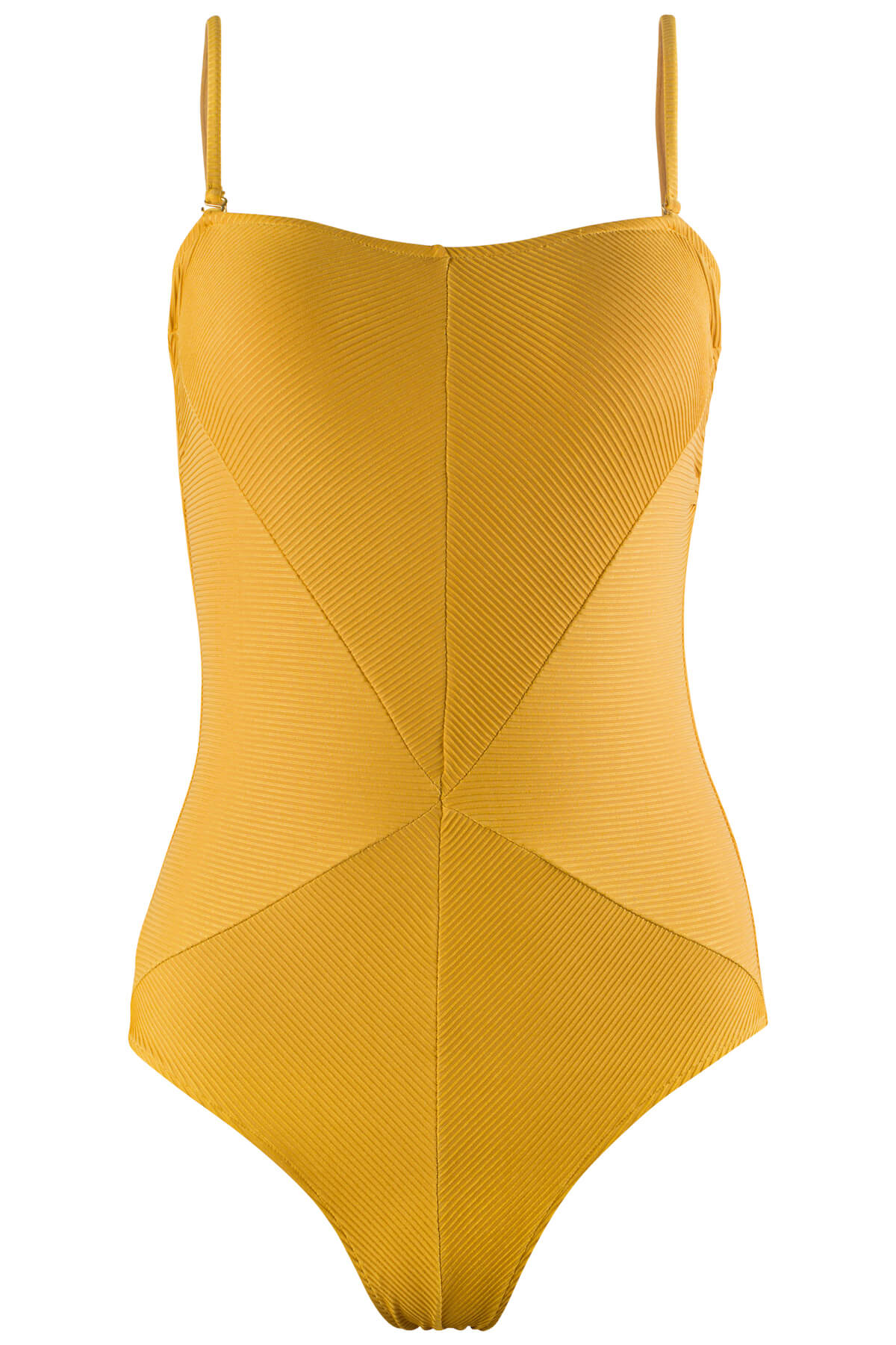 Front Image of the Hannah Swimsuit in Ribbed Gold.