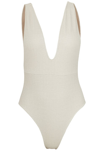 Front image of Helena swimsuit in platinum.
