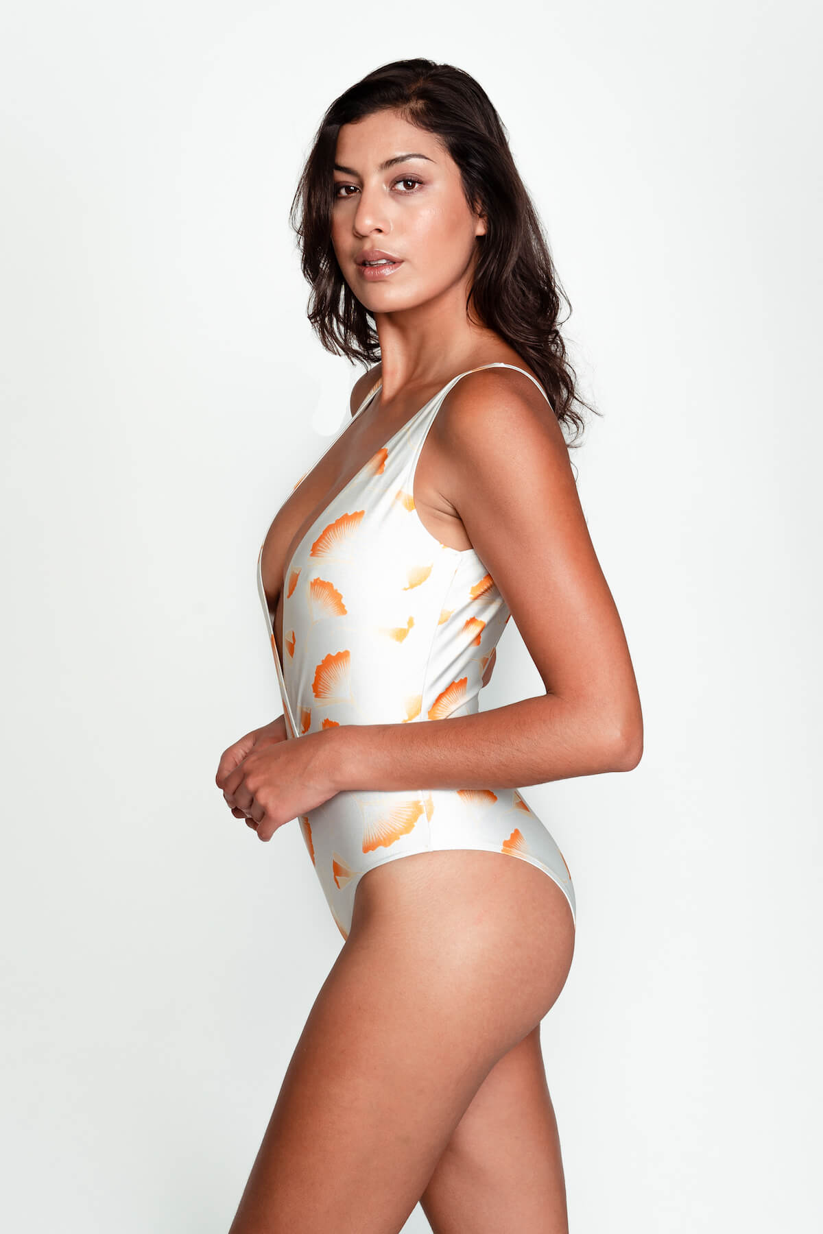 Side of Jacky one piece swimsuit in Ginko Ivory