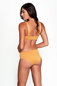 Serena Bikini Bottom in Ribbed Gold back