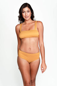 Serena Bikini Bottom in Ribbed Gold front
