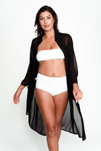 Front of Kris swimsuit cover up in Black