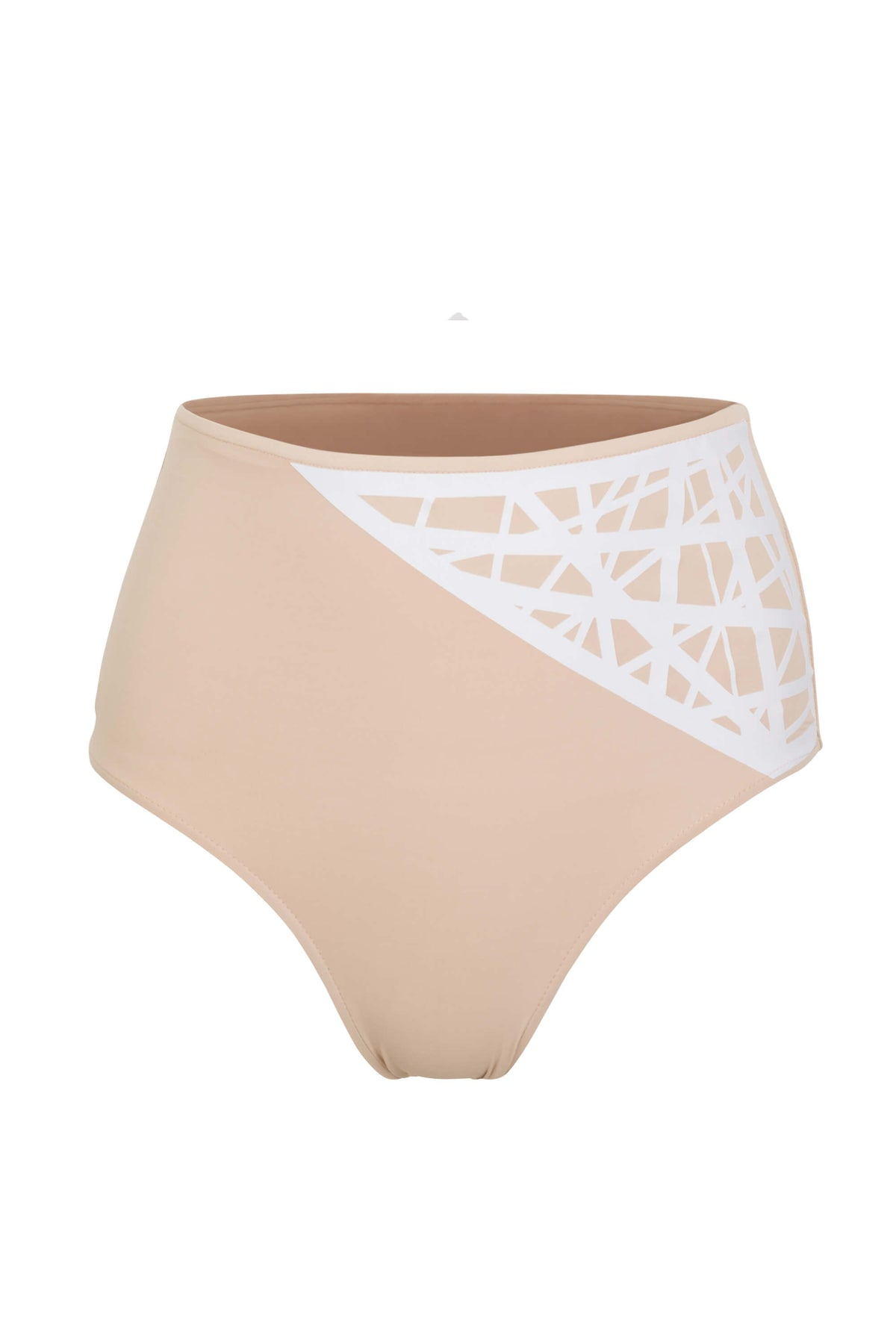 Lillian high waisted bikini bottom in camel with white laser details