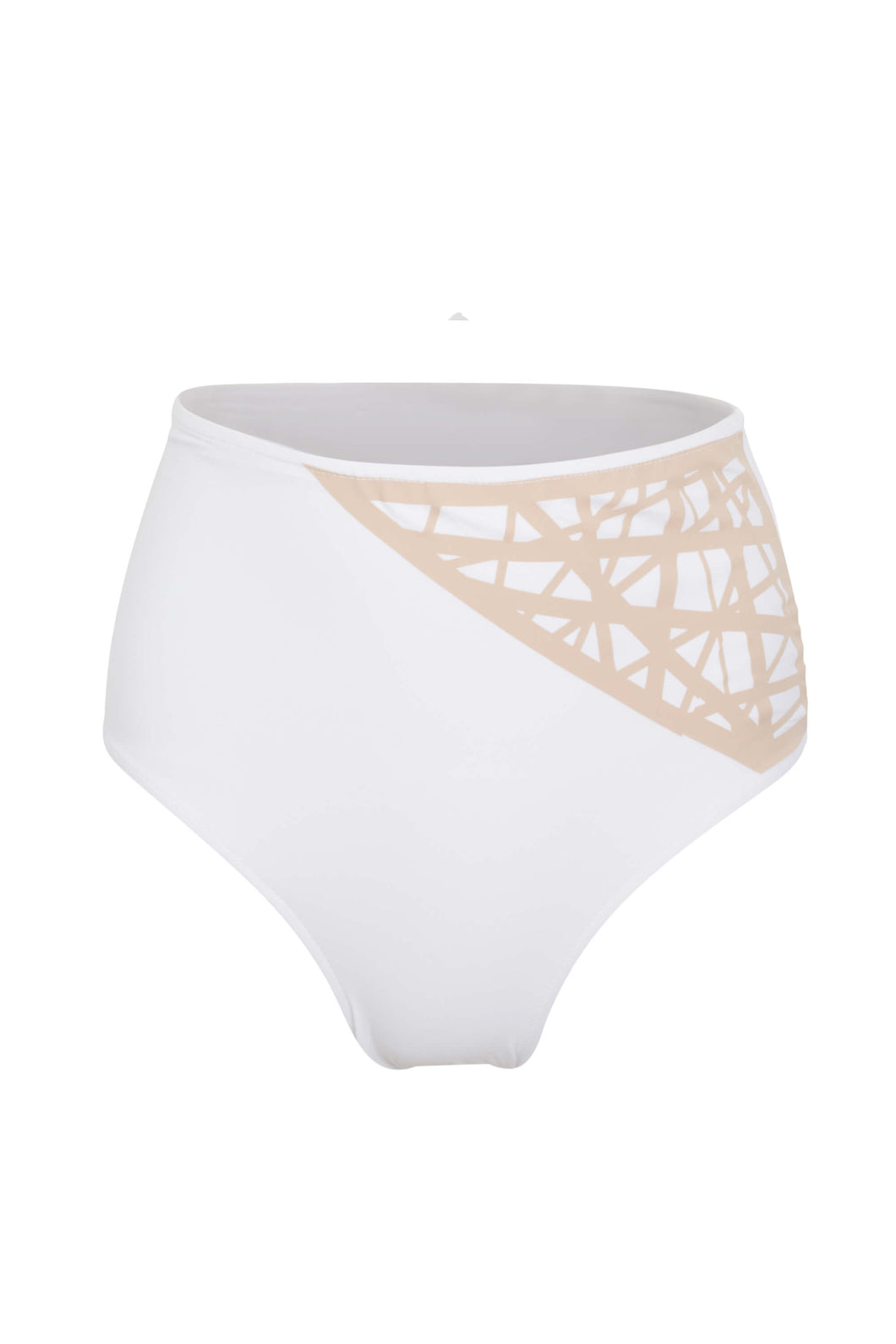 Lillian high waisted bikini bottom in white with camel laser details
