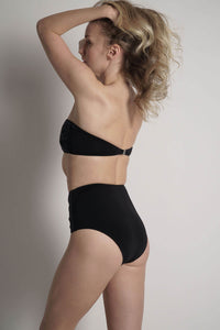 Lillian high waisted bikini bottom in black with navy laser details