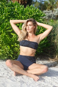 Lillian high waisted bikini bottom in navy with black laser details
