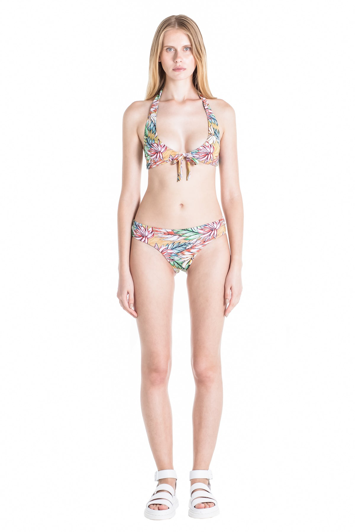 Front of Lilly tropical halter bikini.