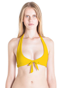 Lilly halter swimsuit top in mustard