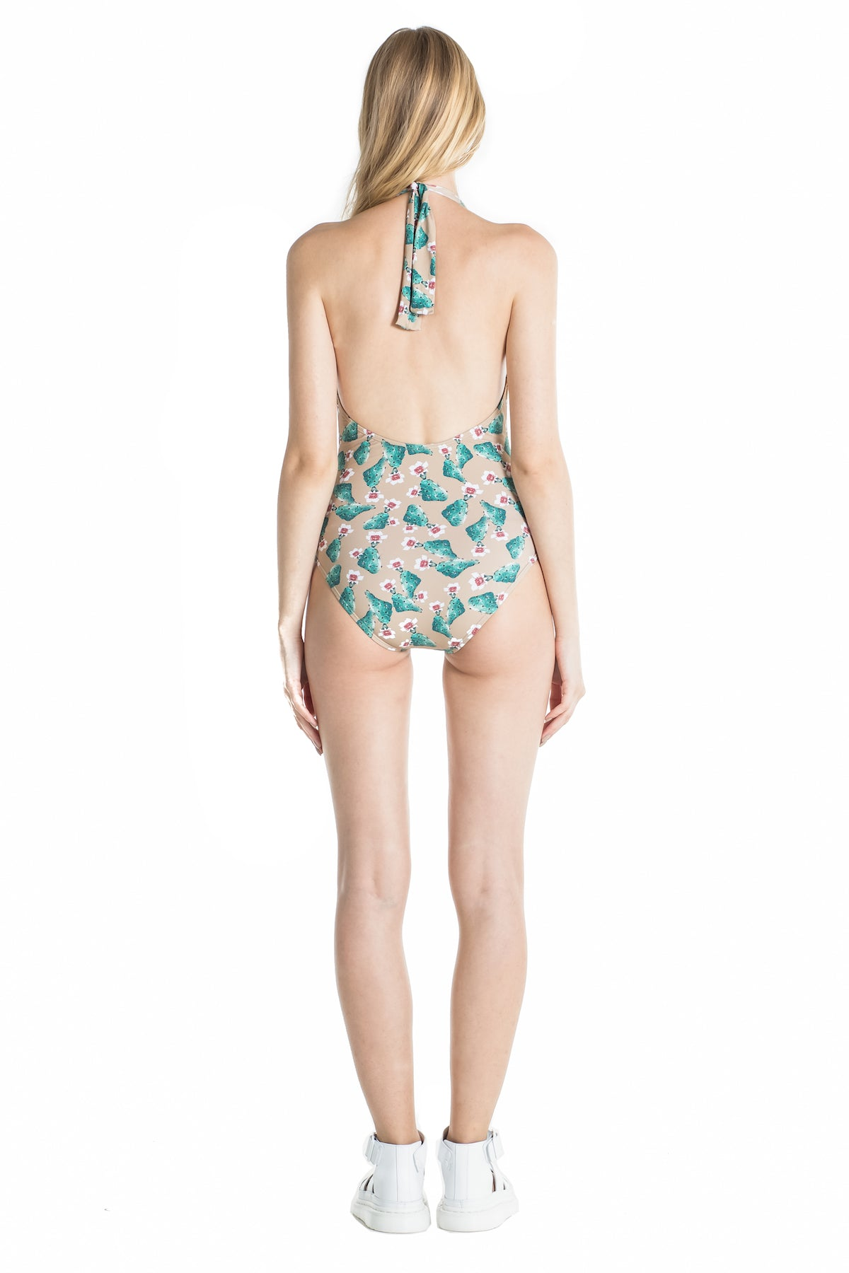 Back of Marina halter top swimsuit in Cactus.