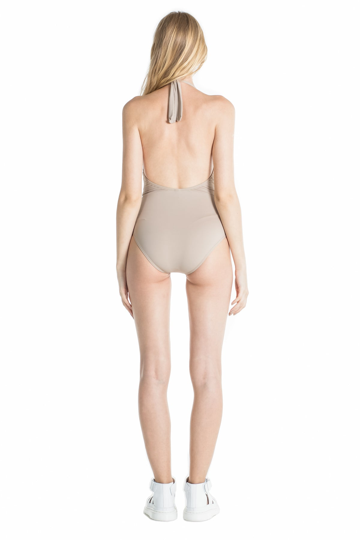 Back of Marina halter one piece swimsuit in Camel.